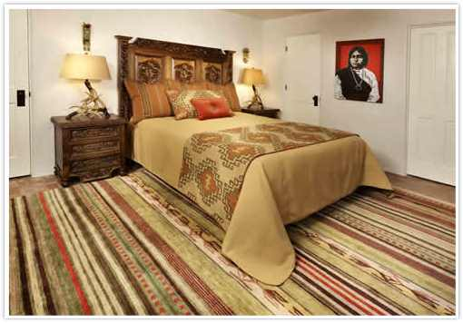 Chimayo Rug in Southwest inspired Bedroom