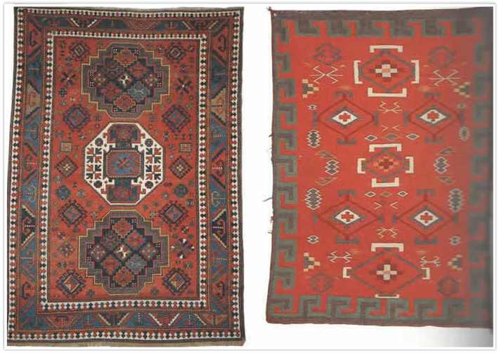 Caucasian Rug used as Navajo Rug template