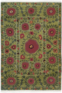 Tibet Rug Company Poppies Green (TI-Poppies-2)